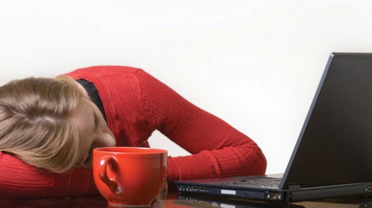 woman asleep at computer